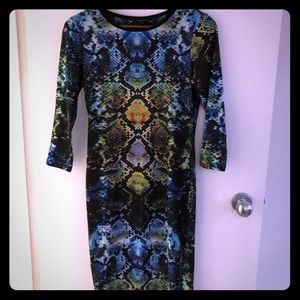 Snake skin green multi colour print dress